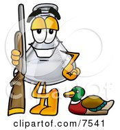 An Erlenmeyer Conical Laboratory Flask Beaker Mascot Cartoon Character Duck Hunting Standing With A Rifle And Duck