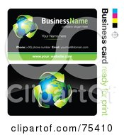 Royalty Free RF Clipart Illustration Of A Business Card Template Of Green Arrows Around Earth On Black by beboy