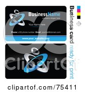 Royalty Free RF Clipart Illustration Of A Business Card Template Of Blue And Chrome Rings On Black by beboy