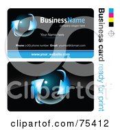 Royalty Free RF Clipart Illustration Of A Business Card Template Of A Dark Orb With Blue Arrows On Black by beboy