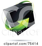 Pre Made Business Logo Of A Green Arrow Around A Black Box On White
