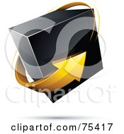 Pre Made Business Logo Of A Yellow Arrow Around A Black Box On White
