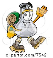 Clipart Picture Of An Erlenmeyer Conical Laboratory Flask Beaker Mascot Cartoon Character Hiking And Carrying A Backpack by Toons4Biz