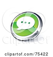 Royalty Free RF Clipart Illustration Of A Round Green And Chrome 3d Chat Window Web Site Button by beboy
