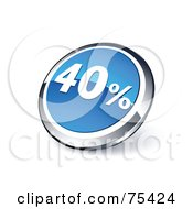 Royalty Free RF Clipart Illustration Of A Round Blue And Chrome 3d Forty Percent Web Site Button by beboy