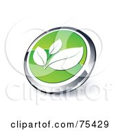 Round Green And Chrome 3d Leaves Web Site Button