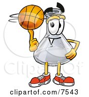 Clipart Picture Of An Erlenmeyer Conical Laboratory Flask Beaker Mascot Cartoon Character Spinning A Basketball On His Finger
