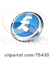 Round Blue And Chrome 3d Pound Sterling Web Site Button