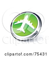 Round Green And Chrome 3d Airliner Web Site Button