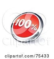 Royalty Free RF Clipart Illustration Of A Round Red And Chrome 3d One Hundred Percent Web Site Button
