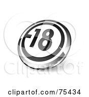 Round Black White And Chrome 3d 18 Web Site Button
