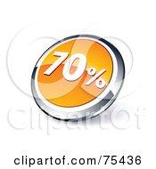 Round Orange And Chrome 3d Seventy Percent Web Site Button