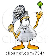 An Erlenmeyer Conical Laboratory Flask Beaker Mascot Cartoon Character Preparing To Hit A Tennis Ball