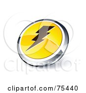 Round Yellow And Chrome 3d Bolt Web Site Button