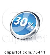 Royalty Free RF Clipart Illustration Of A Round Blue And Chrome 3d Thirty Percent Web Site Button by beboy