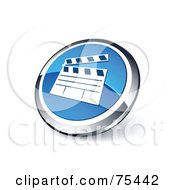 Royalty Free RF Clipart Illustration Of A Round Blue And Chrome 3d Movie Clapper Web Site Button