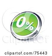 Round Green And Chrome 3d Zero Percent Web Site Button