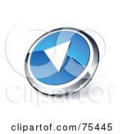 Round Blue And Chrome 3d Rewind Web Site Button