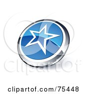 Royalty Free RF Clipart Illustration Of A Round Blue And Chrome 3d Star Web Site Button by beboy