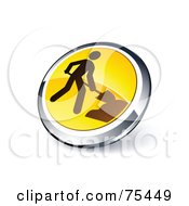 Round Yellow And Chrome 3d Construction Web Site Button