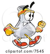 Clipart Picture Of An Erlenmeyer Conical Laboratory Flask Beaker Mascot Cartoon Character Speed Walking Or Jogging by Toons4Biz