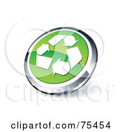 Round Green And Chrome 3d Recycle Web Site Button