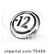 Round Black White And Chrome 3d 12 Web Site Button