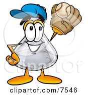Clipart Picture Of An Erlenmeyer Conical Laboratory Flask Beaker Mascot Cartoon Character Catching A Baseball With A Glove