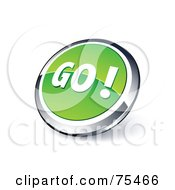 Round Green And Chrome 3d Go Web Site Button
