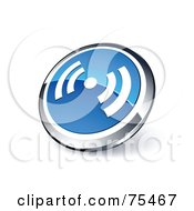 Round Blue And Chrome 3d RSS Web Site Button