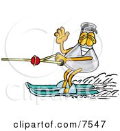 Clipart Picture Of An Erlenmeyer Conical Laboratory Flask Beaker Mascot Cartoon Character Waving While Water Skiing by Toons4Biz