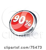 Round Red And Chrome 3d Ninety Percent Web Site Button