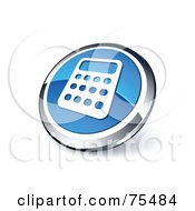Royalty Free RF Clipart Illustration Of A Round Blue And Chrome 3d Calculator Web Site Button