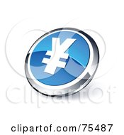 Royalty Free RF Clipart Illustration Of A Round Blue And Chrome 3d Yen Web Site Button