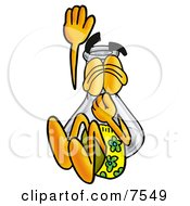 An Erlenmeyer Conical Laboratory Flask Beaker Mascot Cartoon Character Plugging His Nose While Jumping Into Water