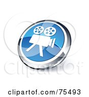 Royalty Free RF Clipart Illustration Of A Round Blue And Chrome 3d Movie Camera Web Site Button