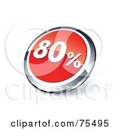 Round Red And Chrome 3d Eighty Percent Web Site Button