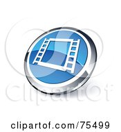 Royalty Free RF Clipart Illustration Of A Round Blue And Chrome 3d Film Frame Web Site Button