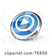 Round Blue And Chrome 3d Play Web Site Button