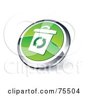 Round Green And Chrome 3d Recyce Bin Web Site Button