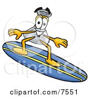 An Erlenmeyer Conical Laboratory Flask Beaker Mascot Cartoon Character Surfing On A Blue And Yellow Surfboard by Toons4Biz