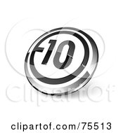 Round Black White And Chrome 3d 10 Web Site Button
