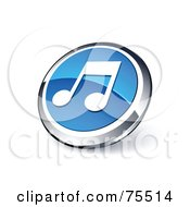 Round Blue And Chrome 3d Music Note Web Site Button