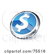 Royalty Free RF Clipart Illustration Of A Round Blue And Chrome 3d Dollar Web Site Button