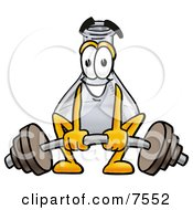 An Erlenmeyer Conical Laboratory Flask Beaker Mascot Cartoon Character Lifting A Heavy Barbell