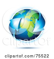 Royalty Free RF Clipart Illustration Of A 3d Double Ended Blue Arrow Around A Green And Blue Shiny Planet Earth