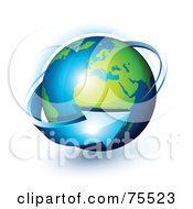 Royalty Free RF Clip Art Illustration Of A 3d Blue Arrow Around A Green And Blue Shiny Planet Earth