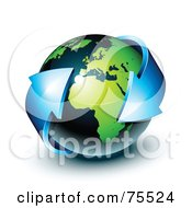 Royalty Free RF Clipart Illustration Of A 3d Double Ended Blue Arrow Around A Green And Navy Blue Shiny Planet Earth