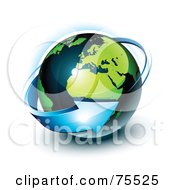 Royalty Free RF Clipart Illustration Of A 3d Blue Arrow Around A Green And Navy Blue Shiny Planet Earth