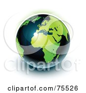 Royalty Free RF Clipart Illustration Of A Green And Navy Blue Shiny Planet Earth